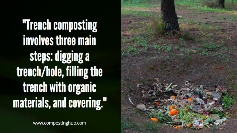 3 steps of trench composting leaves